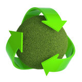 3d Recycle symbol embraces grass ball. 3d render of a grass sphere surrounded by green recycle symbol Stock Image
