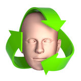 3d Recycle symbol and head Royalty Free Stock Image