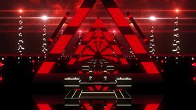 3D Red Abstract Triangles Tunnel VJ Loop Background stock footage
