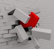 3d red arrow break through wall stock image