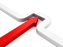 3d red arrow curve the wall. Success concept 3d render illustration Royalty Free Stock Image