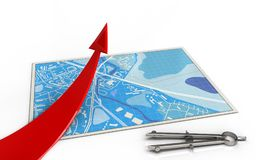 3d red arrow. 3d illustration of blue map with red arrow and Stock Photography