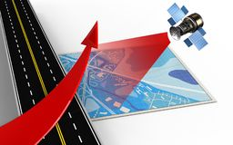 3d red arrow. 3d illustration of blue map with red arrow and Royalty Free Stock Image