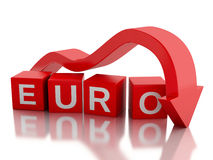 3d Red arrow falling value of the Euro. Royalty Free Stock Image