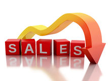 3d Red arrow falling value sales Stock Photos
