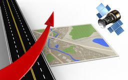 3d red arrow. 3d illustration of map with red arrow and Stock Photos