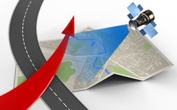 3d red arrow. 3d illustration of map paper with red arrow and Stock Photography