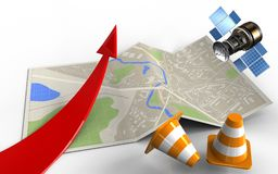 3d red arrow. 3d illustration of map paper with red arrow and repair cones Royalty Free Stock Photography