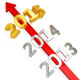 3D red  arrow with year 2015. On white background Royalty Free Stock Photo
