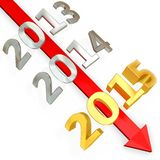 3D red  arrow with year 2015 Stock Images