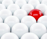 3d red ball Stand out of a crowd. Individuality Stock Photo