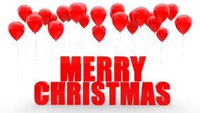 3d red balloons and merry Christmas text Royalty Free Stock Photo