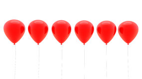3d red balloons in a row Royalty Free Stock Image