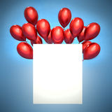 3d red balloons and white blank.  Royalty Free Stock Image