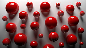 3D red balls. 3D red shiny balls on a gray background Royalty Free Stock Image