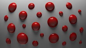 3D red balls. 3D red shiny balls on a gray background Stock Photos