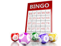 3d Red bingo card with bingo balls. 3d renderer image. Red bingo card with bingo balls.  white background Royalty Free Stock Photos