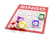 3d Red bingo card with colorful balls. 3d renderer image. Red bingo card with colorful balls.  white background Royalty Free Stock Photo