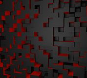 3D red and black abstract cube wallpaper. red and black abstract. Background cube. abstract background stock photo