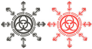 3D Red and black circle biohazard radiation symbol. Red and black circle biohazard radiation symbol in isolated background, create by 3D Stock Image
