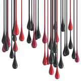 3D red and black glossy paint drop blobs. Isolated on white. 3D rendering Royalty Free Stock Photography