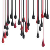 3D red and black glossy paint drop blobs Stock Image