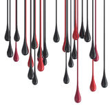 3D red and black glossy paint drop blobs. Isolated on white. 3D rendering Royalty Free Stock Photo