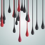 3D red and black glossy paint drop blobs. 3D rendering Royalty Free Stock Image