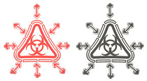 3D red and black triangle biohazard radiation symbol in isolated. Red and black triangle biohazard radiation symbol in isolated background, create by 3D Royalty Free Stock Photos