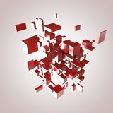 3D Red Blocks. Hi-Tech Background Royalty Free Stock Photography