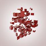 3D Red Blocks. Hi-Tech Background Stock Image