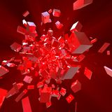 3D Red Blocks. Hi-Tech Background Royalty Free Stock Photo