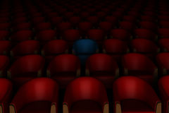 3d red and blue cinema chairs Royalty Free Stock Photo