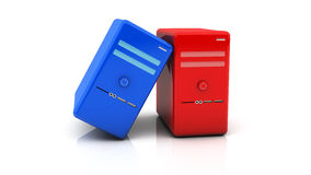 3d red and blue desktop pcs Stock Photography