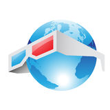 3d Red Blue Glasses and World Royalty Free Stock Images