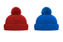 3d red and blue knitted winter cap Stock Image