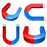 3D red and blue magnet Stock Images