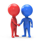 3d Red and blue man shake hands Royalty Free Stock Images