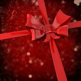 3d red bow and ribbon background Stock Photos