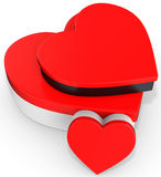 3d red boxes in the shape of heart Stock Photo