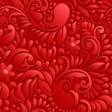 3D RED bright seamless floral design pattern Stock Photos