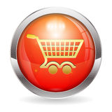 Shopping Cart Button. 3D Red Button with Shopping Cart Icon, isolated on white, easy change color, vector illustration Stock Photos