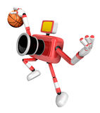 3D Red camera basketball player Vigorously jumping. Create 3D Ca Stock Image