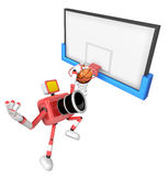 3D Red camera basketball player Vigorously jumping. Create 3D Ca Stock Photos