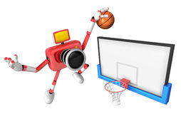 3D Red camera basketball player Vigorously jumping Royalty Free Stock Photos