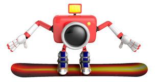 3D red Camera characte the direction of pointing with both hands Royalty Free Stock Photography