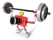 3D Red Camera character a Barbell Shoulders Press Exercise. Crea Royalty Free Stock Photography