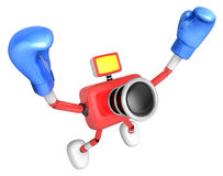 3d Red Camera Character Boxer Victory the serenade. Create 3D Ca Royalty Free Stock Photos