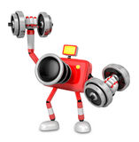 3D Red Camera character a Dumbbell one Easy Clean Exercise. Crea Stock Photo