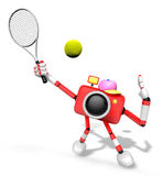 3D red Camera character is a powerful tennis game play exercises Royalty Free Stock Photo